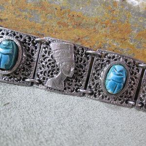Egyptian Revival Nefertiti Bracelet Scarab Cuff